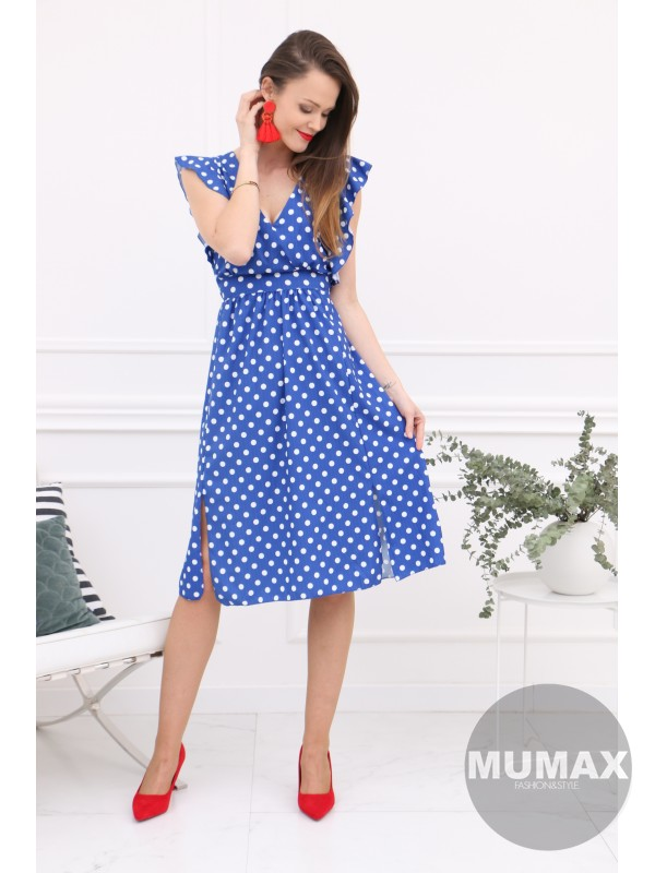 Modré bodkované šaty