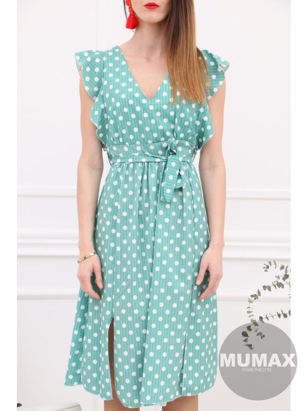 Zelené bodkované šaty
