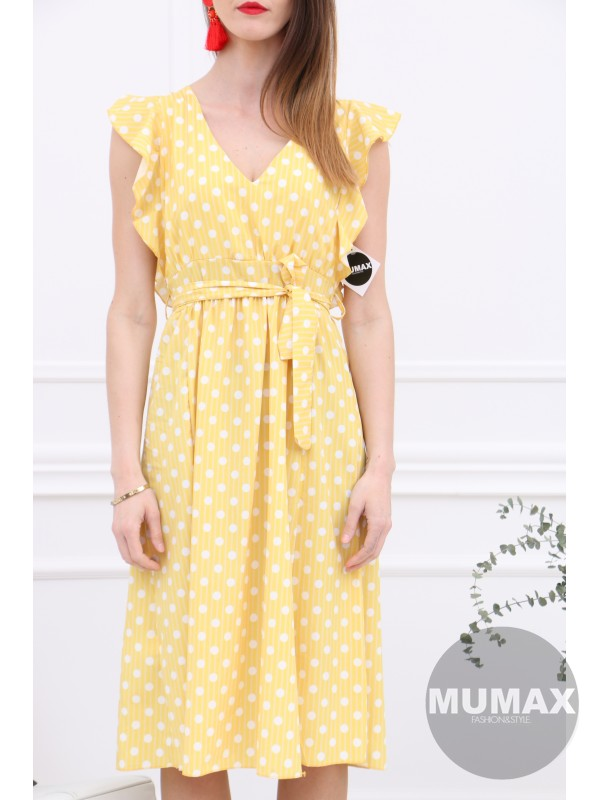 Žlté bodkované šaty
