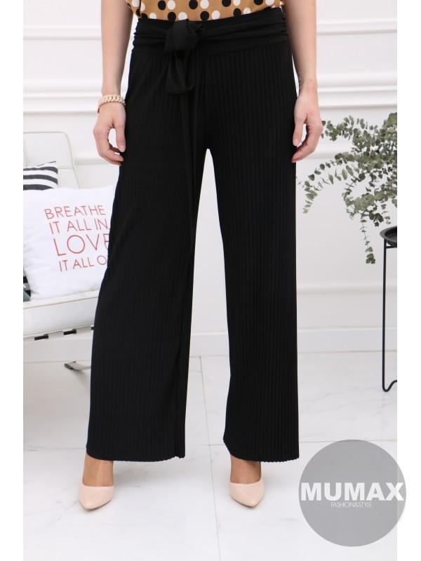 Čierne plisované nohavice