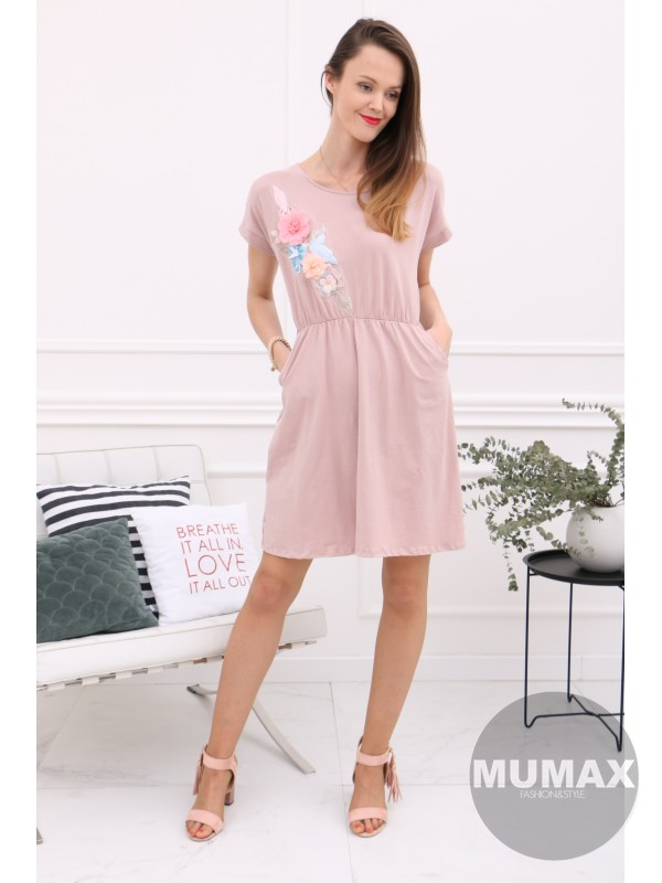 Ružové šaty s 3D kvetmi