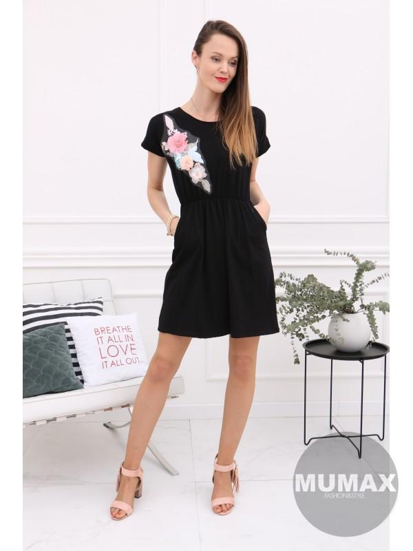 Čierné šaty s 3D kvetmi