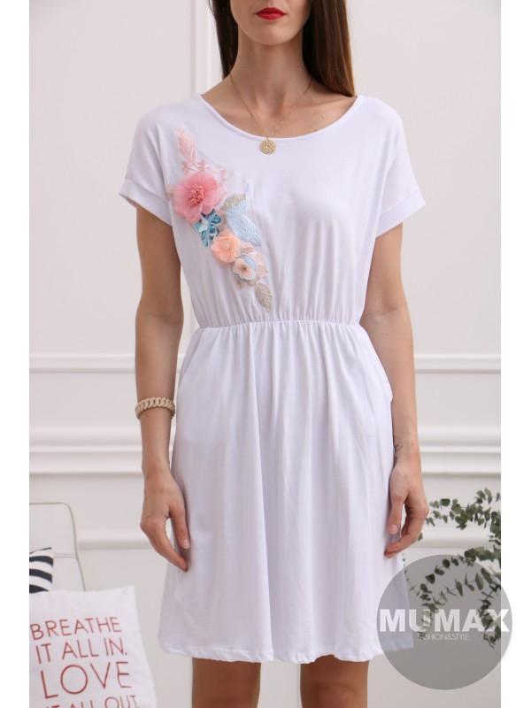 Biele šaty s 3D kvetmi