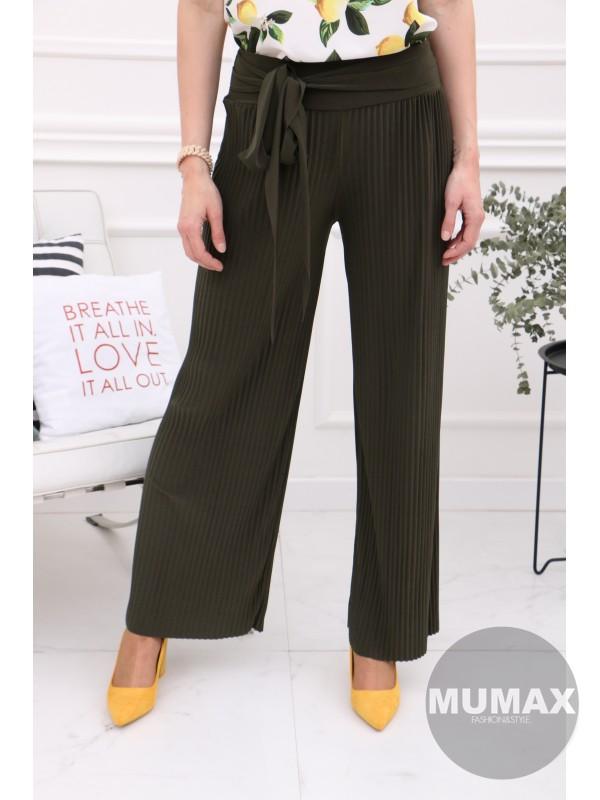 Zelené plisované nohavice