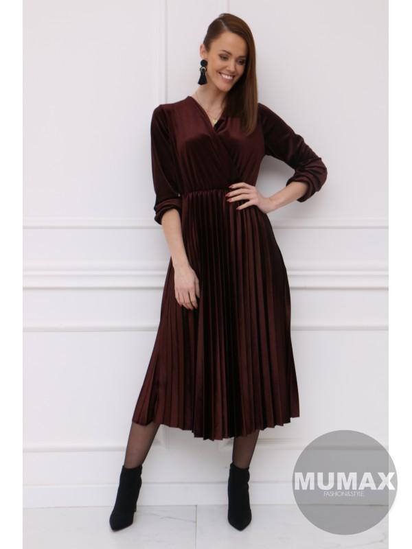 Hnedé plisované zamatové šaty
