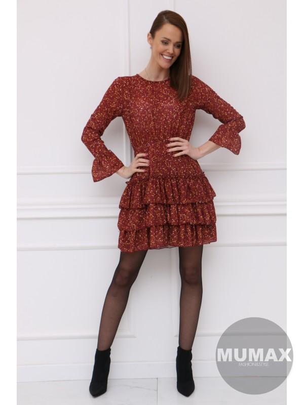 Bordové šaty s riasením