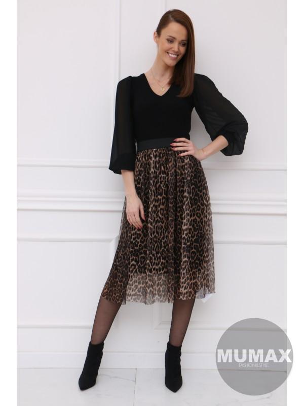 Tylová sukňa leopardí vzor