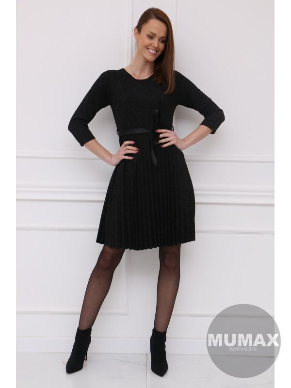 Čierné plisované šaty ligotavé