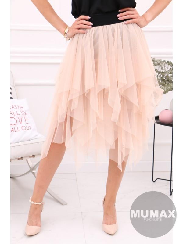Krémova tylová sukňa