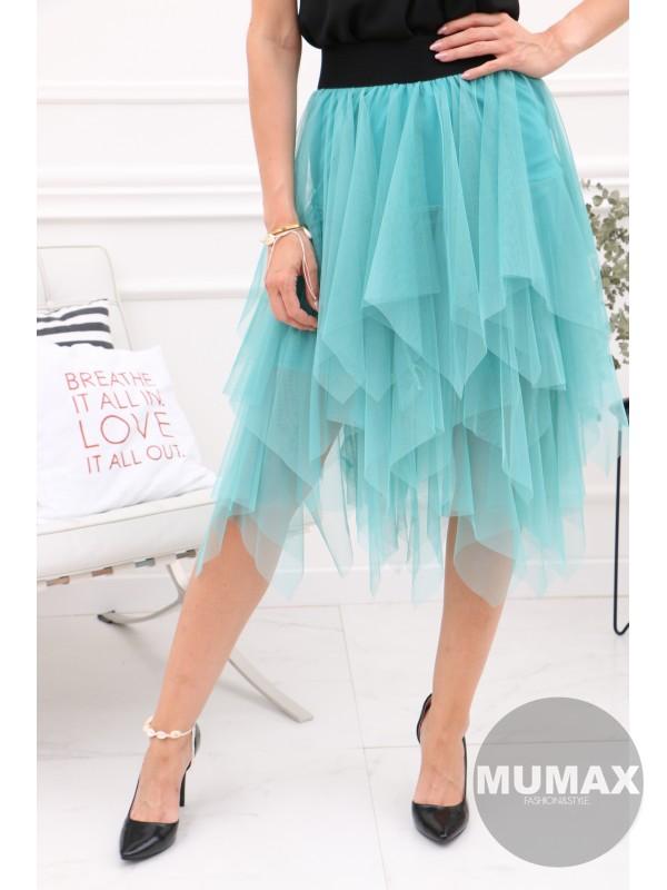 Tyrkysová tylová sukňa