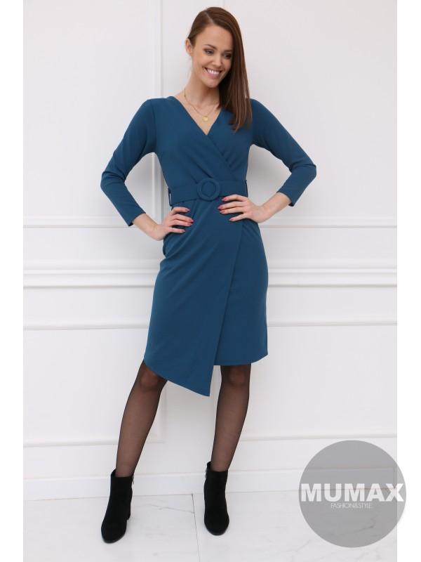 Dámske asymetrické šaty s opaskom