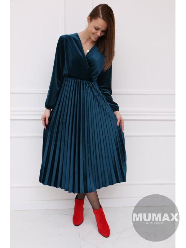 Modré plisované zamatové šaty