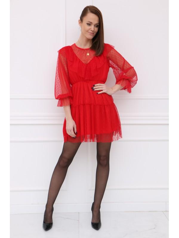 Červené tylové šaty
