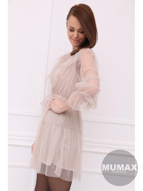 Béžove tylové šaty