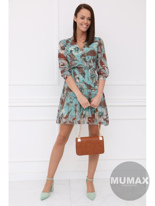 Mentolové šaty hnedý kvet
