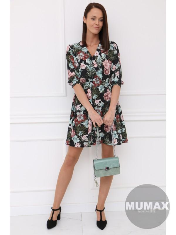 Čierné šaty zelený kvet