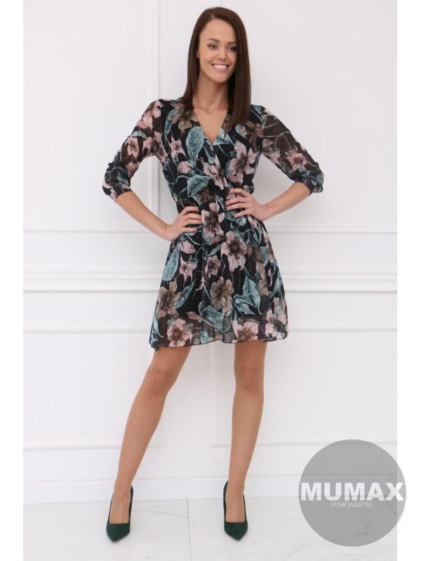 Čierné šaty ružový kvet