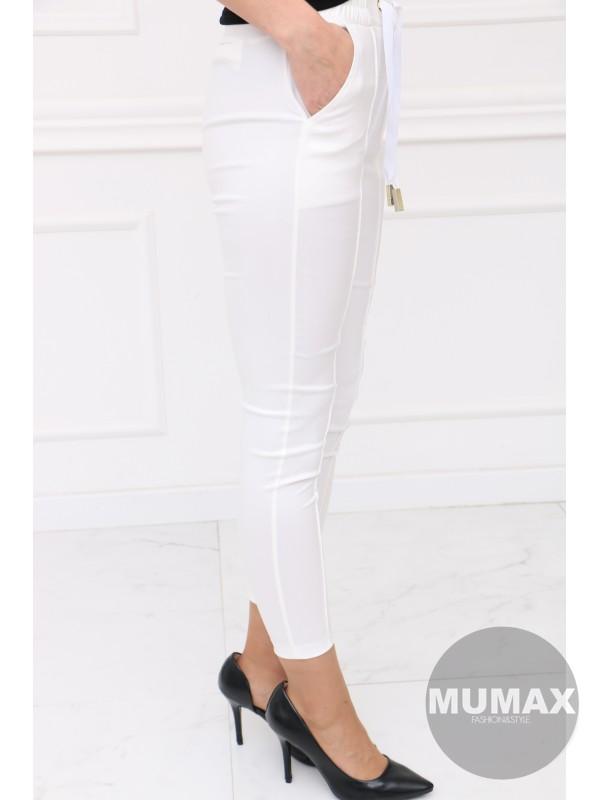 Bielé koženkové nohavice