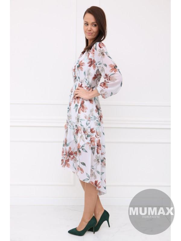 Bielé asymetrické šaty list