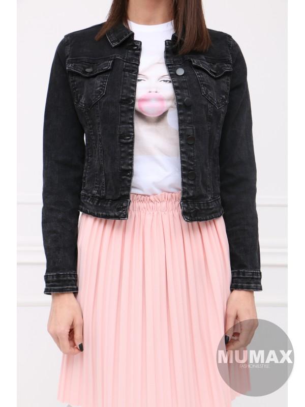 Trendy čierná bundička s golierom