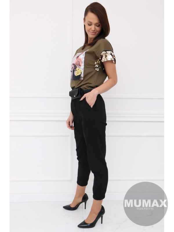 Čierné nohavice s ľadvinkou