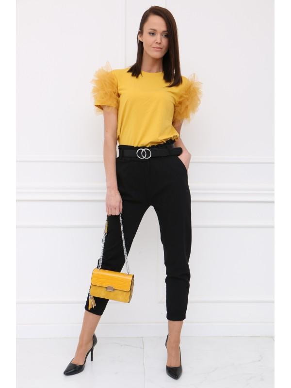Žlté tričko s tylom na rukávoch