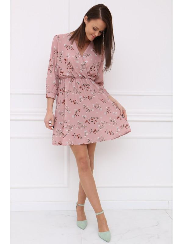 Ružové šaty bielý kvet