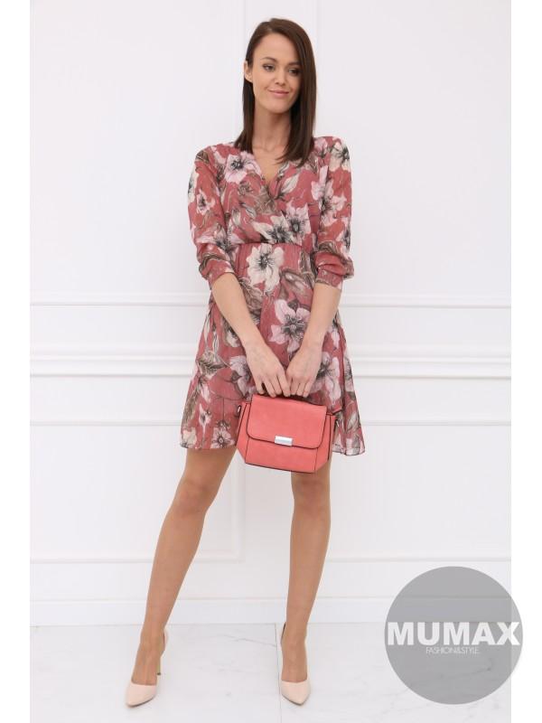 Hnedoružové šaty svetlý kvet