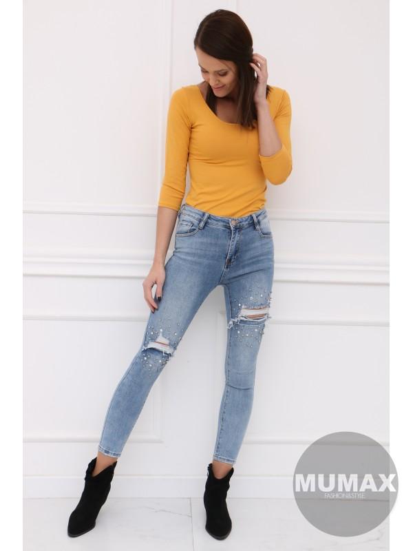 Žlté tričko s trojštvrťovým rukávom