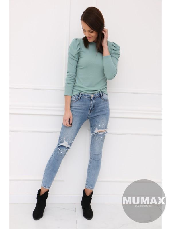 Mintové tričko s dlhými rukávmi