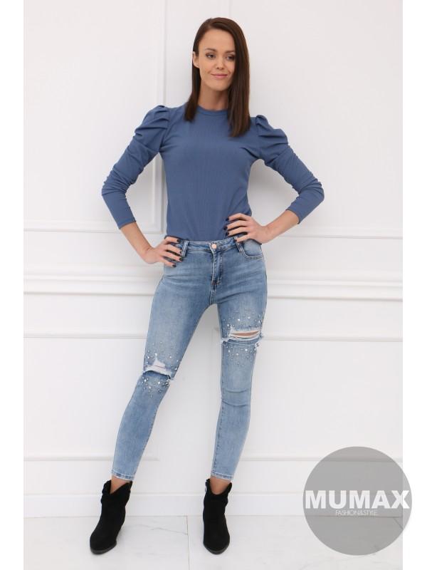 Modré tričko s dlhými rukávmi