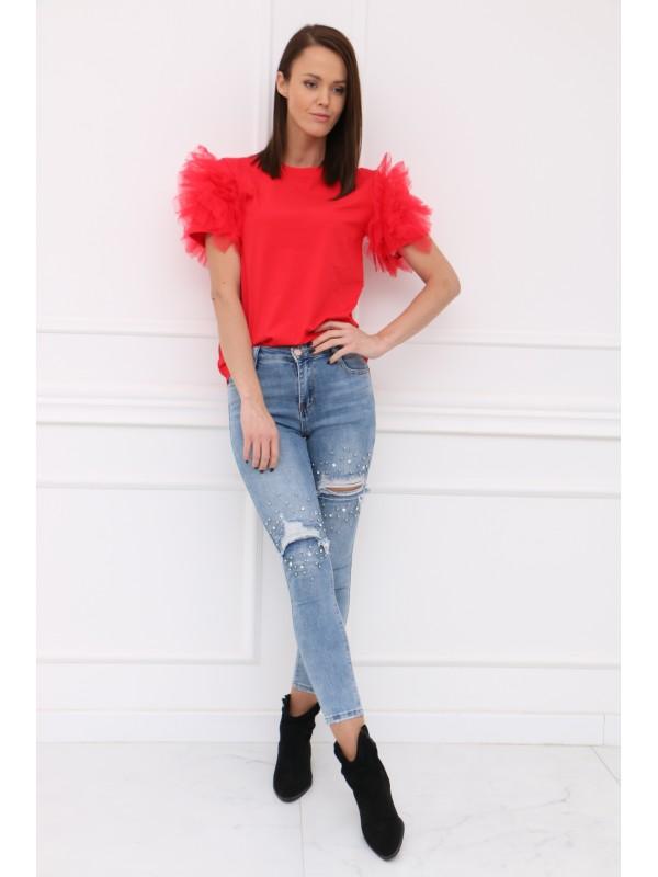 Červené tričko s tylom na rukávoch