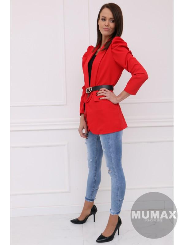 Červené sako s opaskom