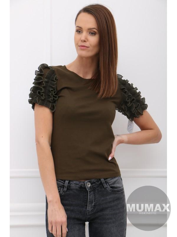 Zelené tričko s ozdobou na rukávoch