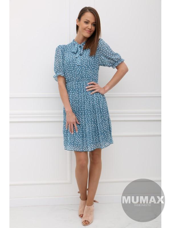 Modré šaty bodka