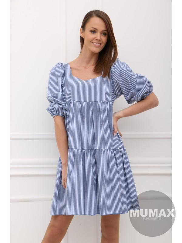 Modré šaty pásik