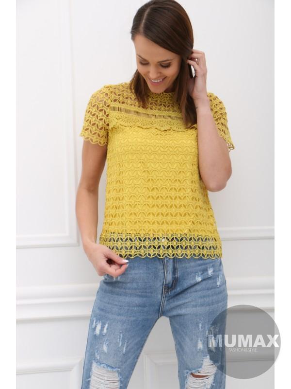 Žltý krajkový top