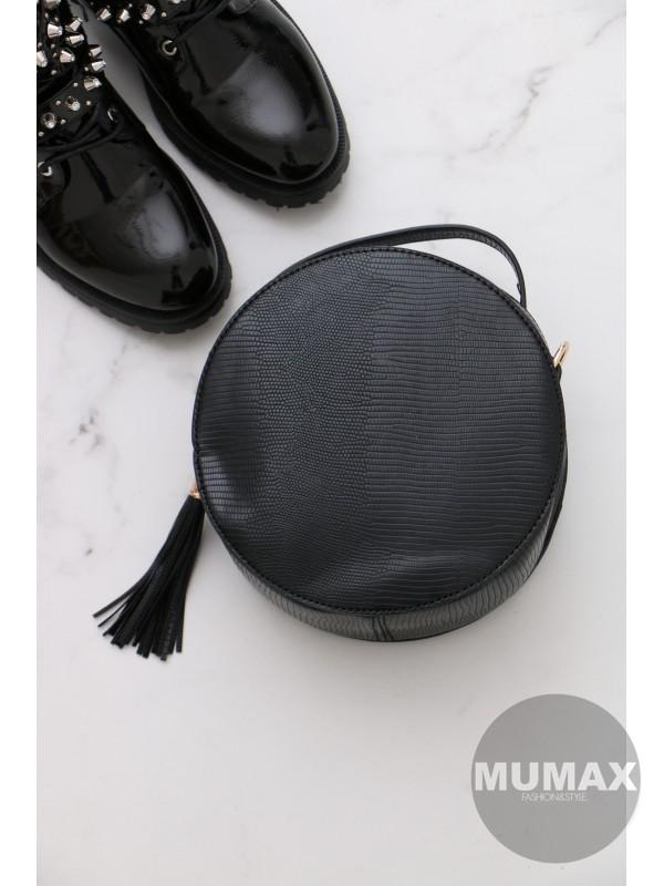 Trendy okrúhla kabelka čierná