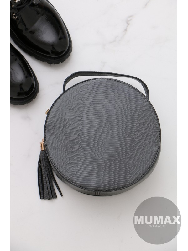 Trendy okrúhla kabelka šedá