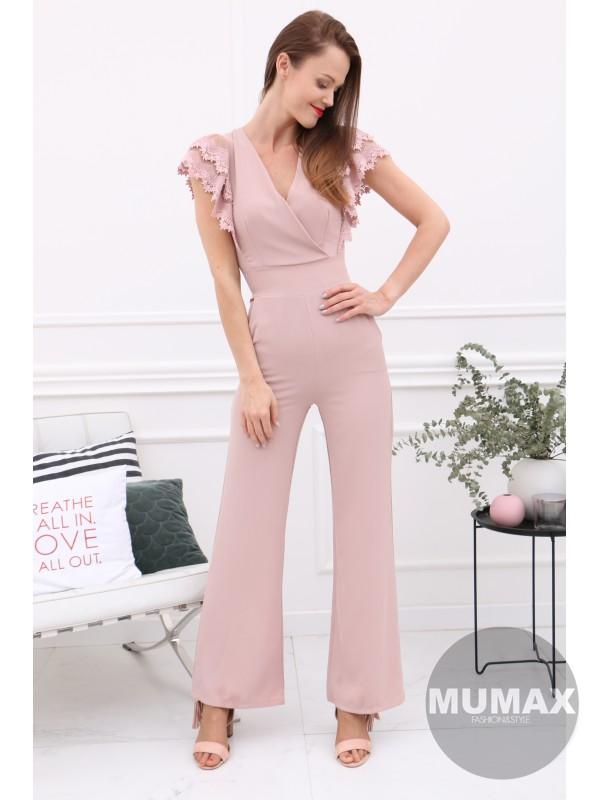 Ružový elegantný overál