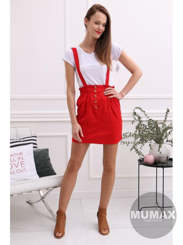 Červený krátky komplet tričko a suknička