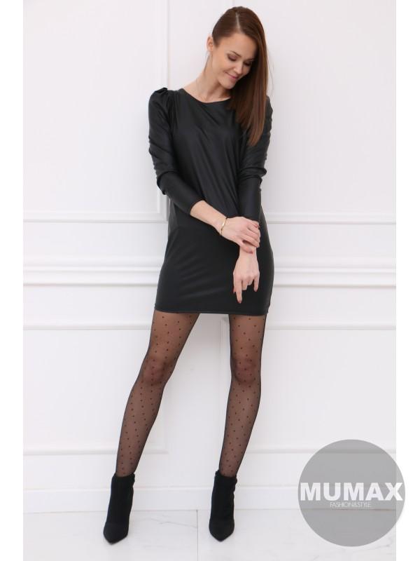Čierné koženkové šaty