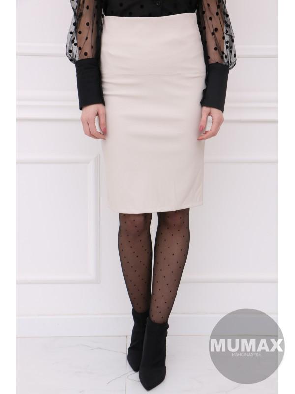 Krémova koženková sukňa