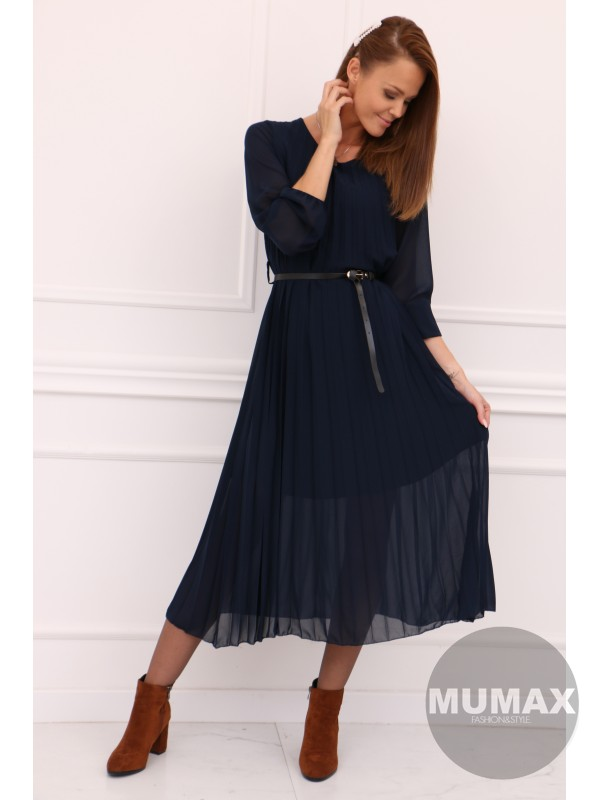 Modré plisované šaty