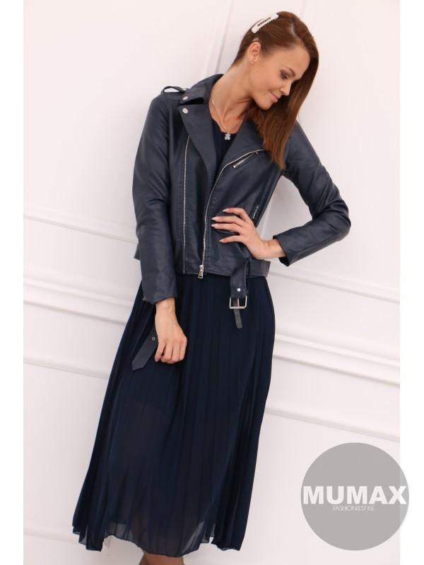 Dámska modrá koženková bunda