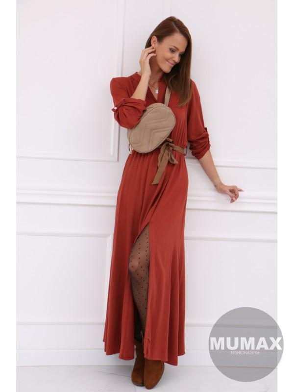 Dámske dlhé šaty terracotta
