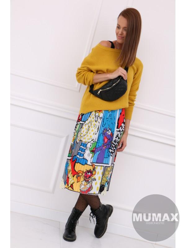 Plisovaná komiksová sukňa