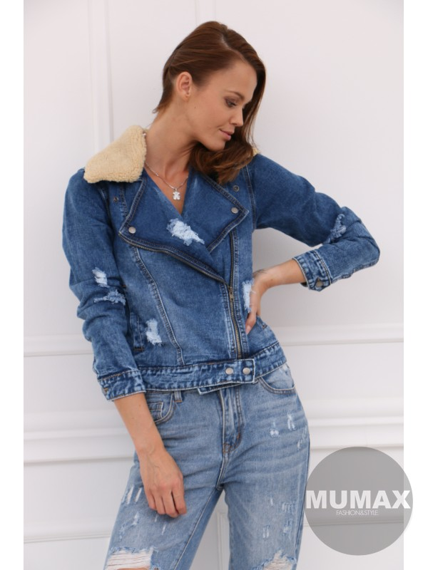 Rifľová bunda s kožušinkou