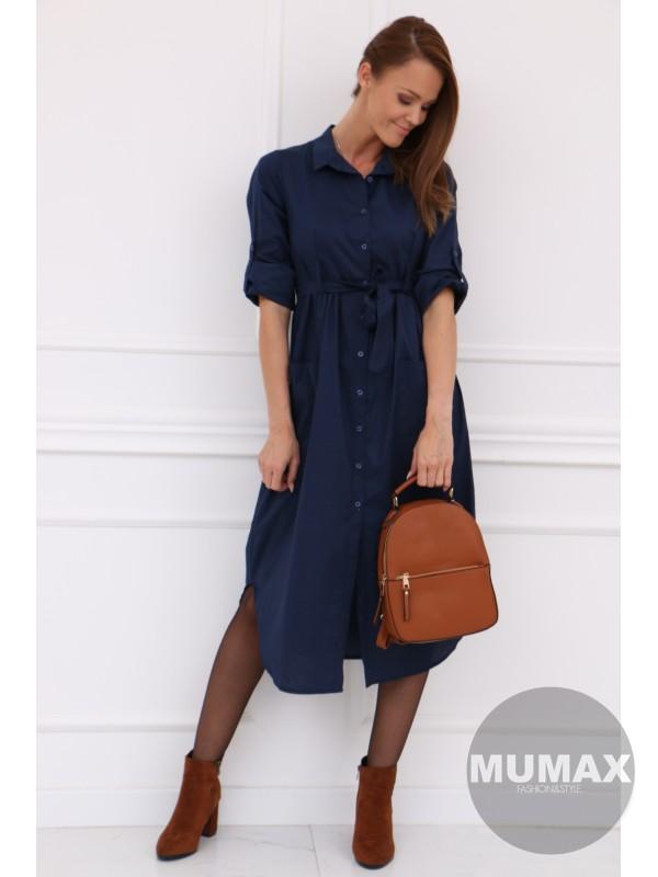 Dámske košeľové šaty modré