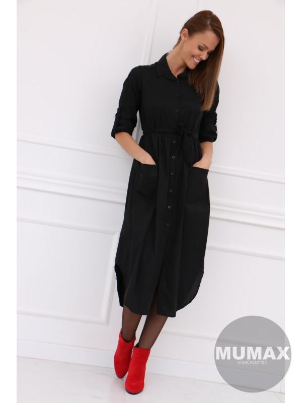 Dámske košeľové šaty čierné